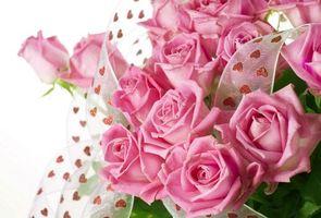 Бесплатные фото розы, розовые, букет, цветы