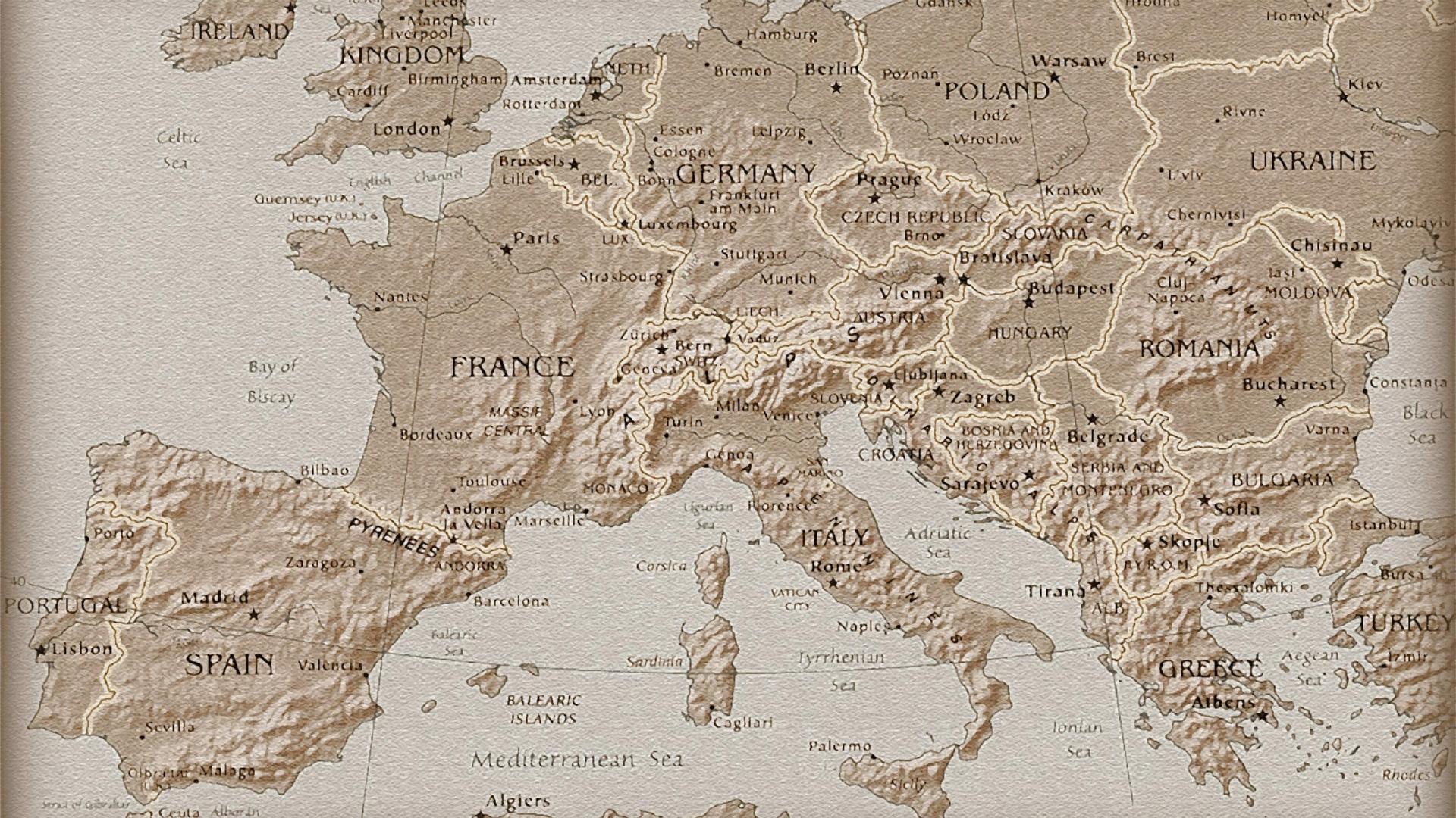 карта, старинная, франция