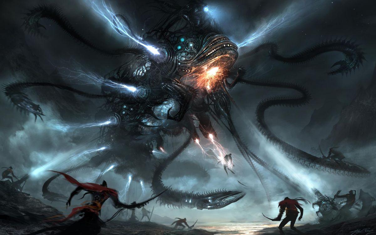 Фото бесплатно космический, карабль, нападение, война, щупальца, клешни, фантастика, фантастика
