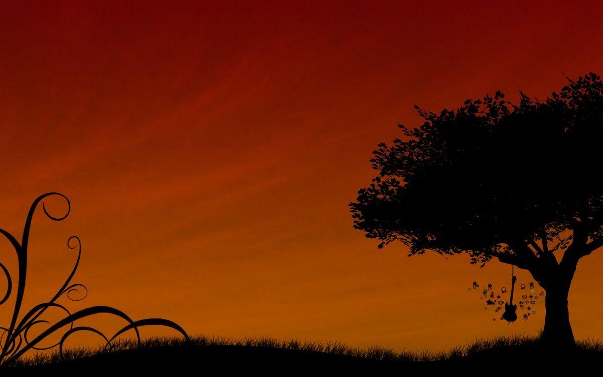 Картинка небо, красное, дерево, листья, крона, гитара, трава, поле, музыка, природа на рабочий стол. Скачать фото обои природа