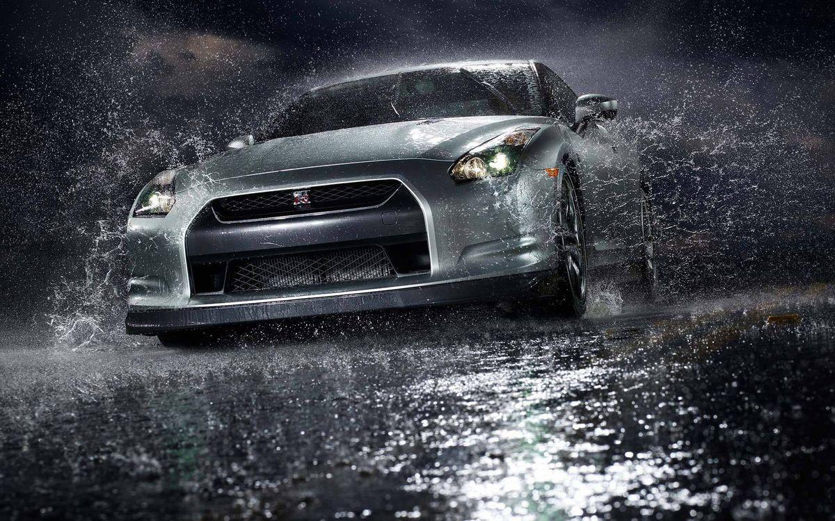 Фото бесплатно nissan gt-r, седан, цвет, макрый, асфальт, спортивный, скорость, вода, дождь, брызги, машины, машины
