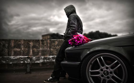 Фото бесплатно парень, машина, ожидание