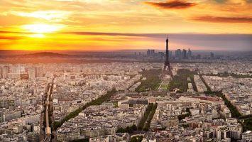 Фото бесплатно париж, эйфелева башня, закат