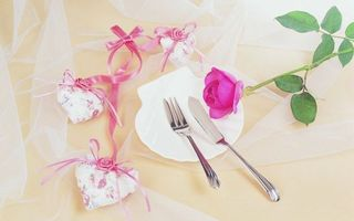 Заставки тарелка, роза, лепестки, шипы, стебель, листья, бантики, сердечки, фатин, ткань, нож, вилка