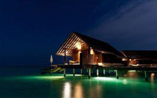 Бесплатные фото тропики,море,ночь,бунгало,разное