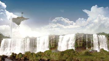 Фото бесплатно водапад, летающая скала, мельницы