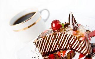 Фото бесплатно чашка, кофе, торт
