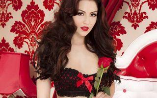 Бесплатные фото девушка,брюнетка,волосы,прическа,макияж,губы,красные