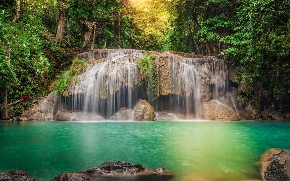 Фото бесплатно джунгли, водопад, вода, бирюзовая, камни, природа, природа