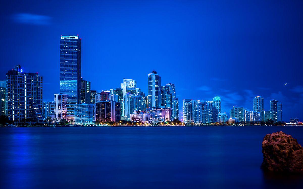 Фото бесплатно море, огни, небоскребы - на рабочий стол