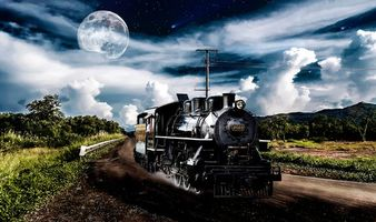 Бесплатные фото дорога,паровоз,небо,планета,art