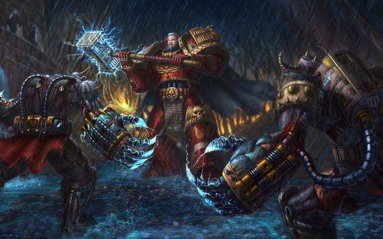 Бесплатные фото fight,fantasy,hammer,warrior,magic,фантастика