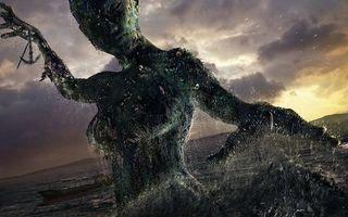 Заставки женщина, девушка, призрак, чудище, водоросли, силуэт, океан, море, чайки, горизонт, шторм, аниме