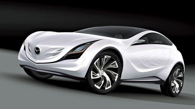 Бесплатные фото мазда,белая,концепт кар,дизайн,диски,фары,машины