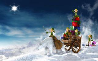 Фото бесплатно новый год, эльфы, сани
