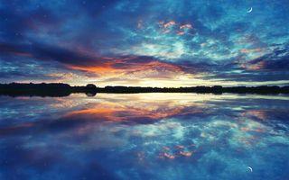 Фото бесплатно облака, отражение, горизонт