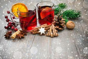 Бесплатные фото Рождество,фон,дизайн,элементы,новогодний стол,чай с лимоном,новогодние обои