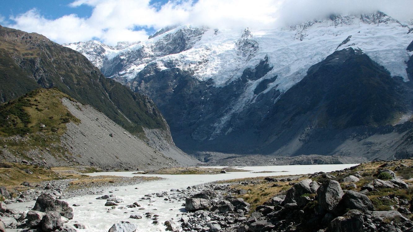 Фото бесплатно скалы, вода, камни, снег, трава, горы, вершины, пейзажи, природа, природа