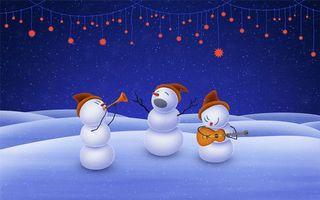 Бесплатные фото снеговики,музыканты,трио,гитара,труба,вокал,гирлянды