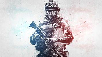 Фото бесплатно солдат, автомат, каска