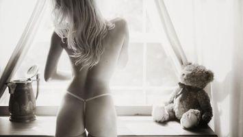 Фото бесплатно белое, стринги, тюль