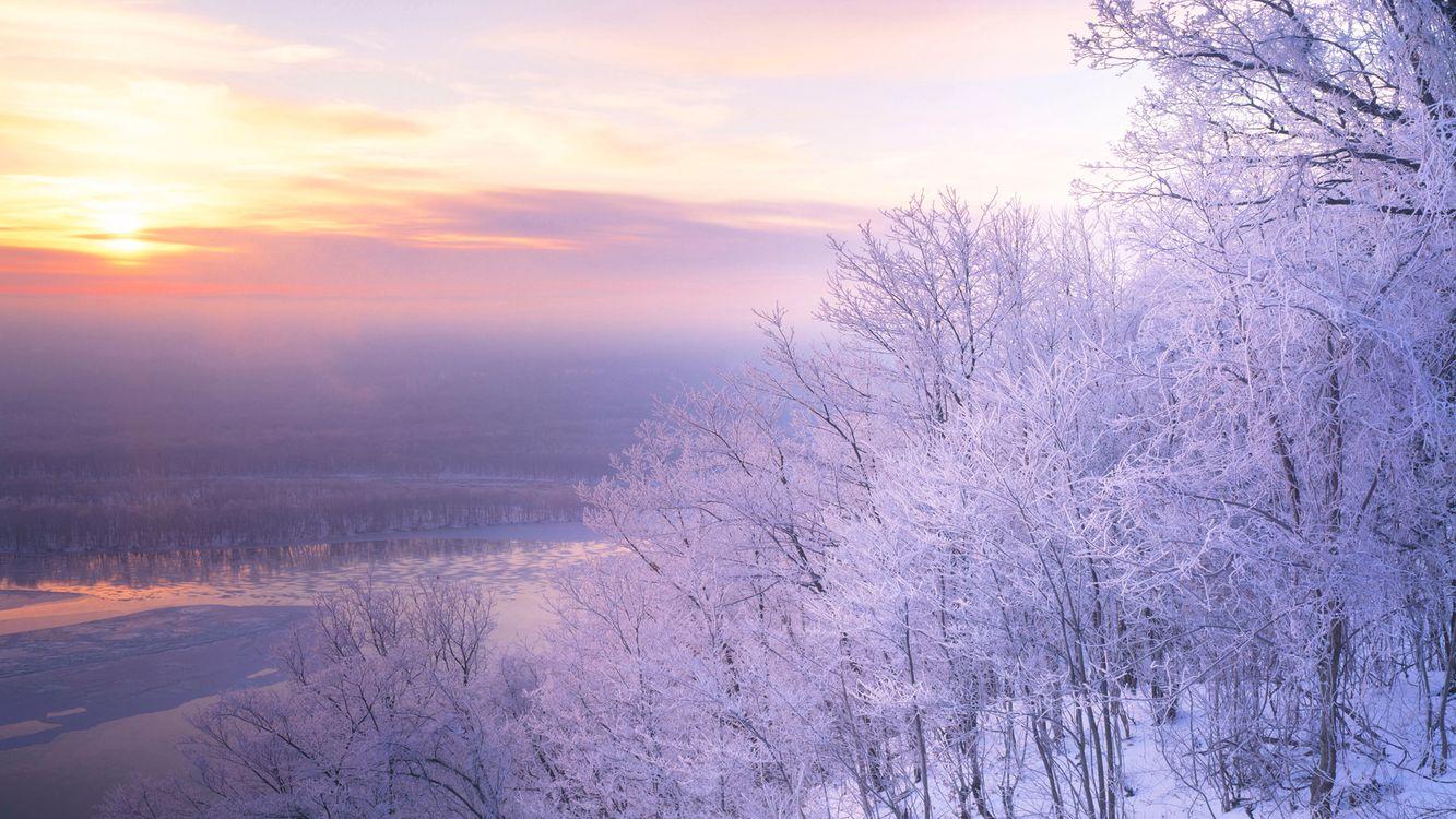 Фото бесплатно закат, река, деревья, лес, иней, зима, мороз, солнце, берег, небо, облака, природа, природа