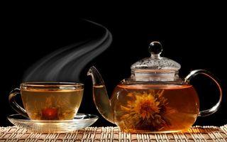 Бесплатные фото чай,чашка,чайник,блюдце,цветок,черный фон