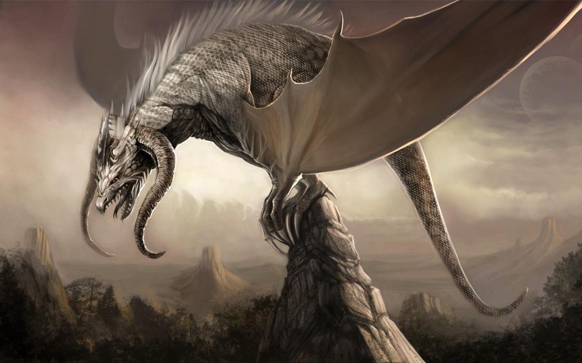 Фото бесплатно дракон, сказочное, существо, крылья, скала, рендеринг, рендеринг