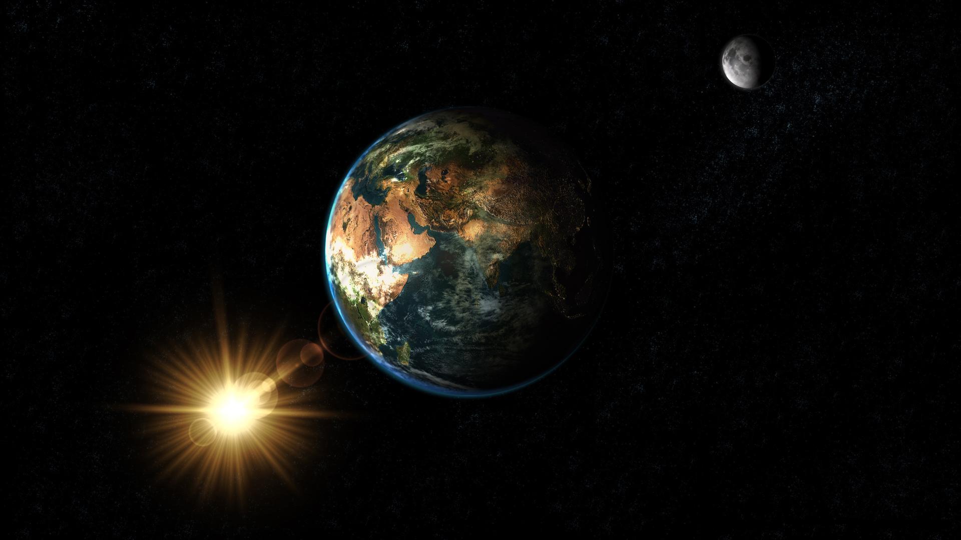 Обои планета земля, солнце, спутник, луна