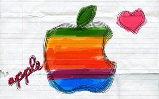 Бесплатные фото apple,яблоко,сердце,надпись,рисунок,лист,тетрадь