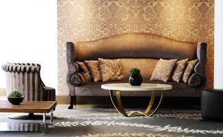 Обои диван, стена, обои, кресло, узор, ваза, цветок, стол, пол, подушки, коричневый, комната