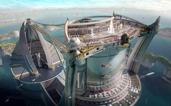 Фото бесплатно фантастика, город, будущее