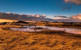Бесплатные фото осень,река,мост,разрушенный,трава,сухая,небо