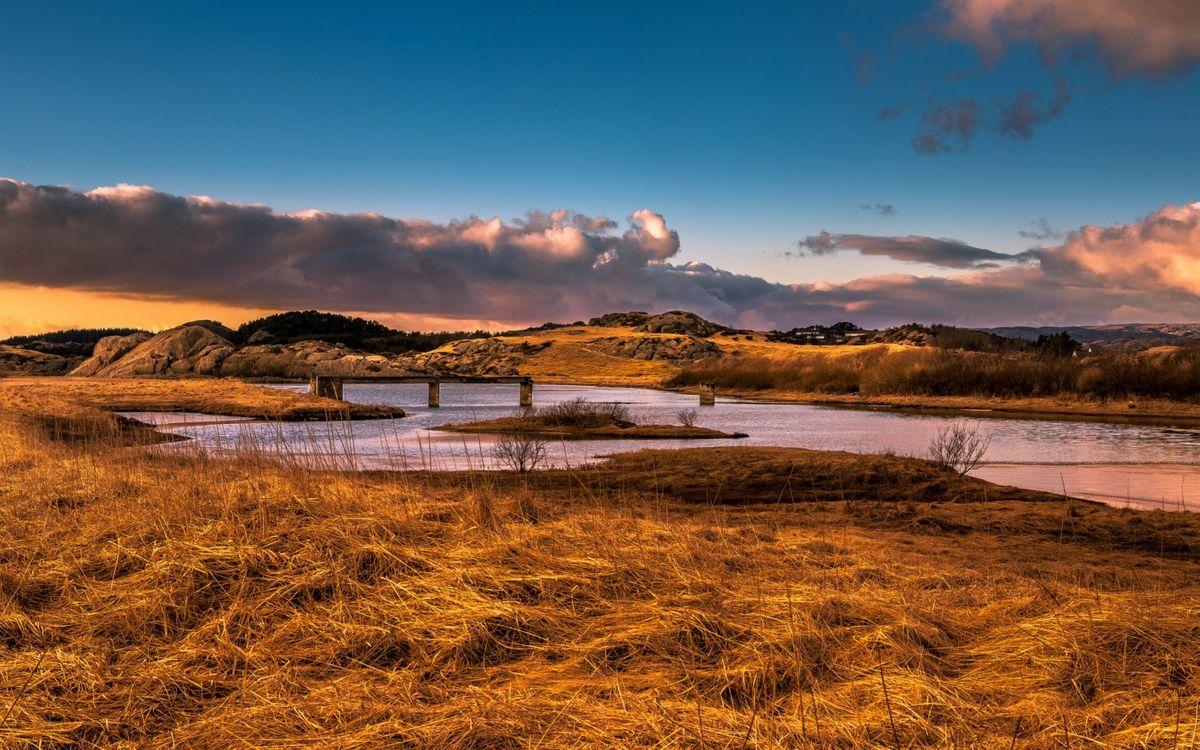 Фото бесплатно осень, река, мост - на рабочий стол