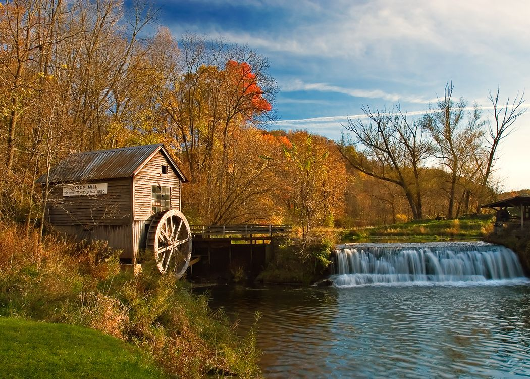 Фото бесплатно осень, река, водопад, мельница, пейзаж, пейзажи