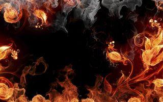 Заставки пламя, огонь, языки, цветы, листья, дым, абстракции