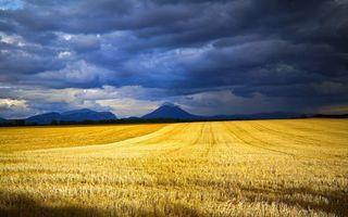Фото бесплатно поле, горы, небо