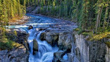 Бесплатные фото река,течение,камни,водопад,деревья,лес,горы