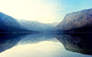 Фото бесплатно река, скалы, небо