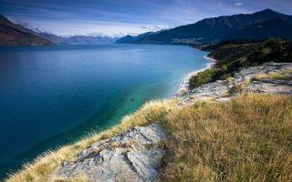 Фото бесплатно соль, трава, вода, берег, озеро, горы, природа