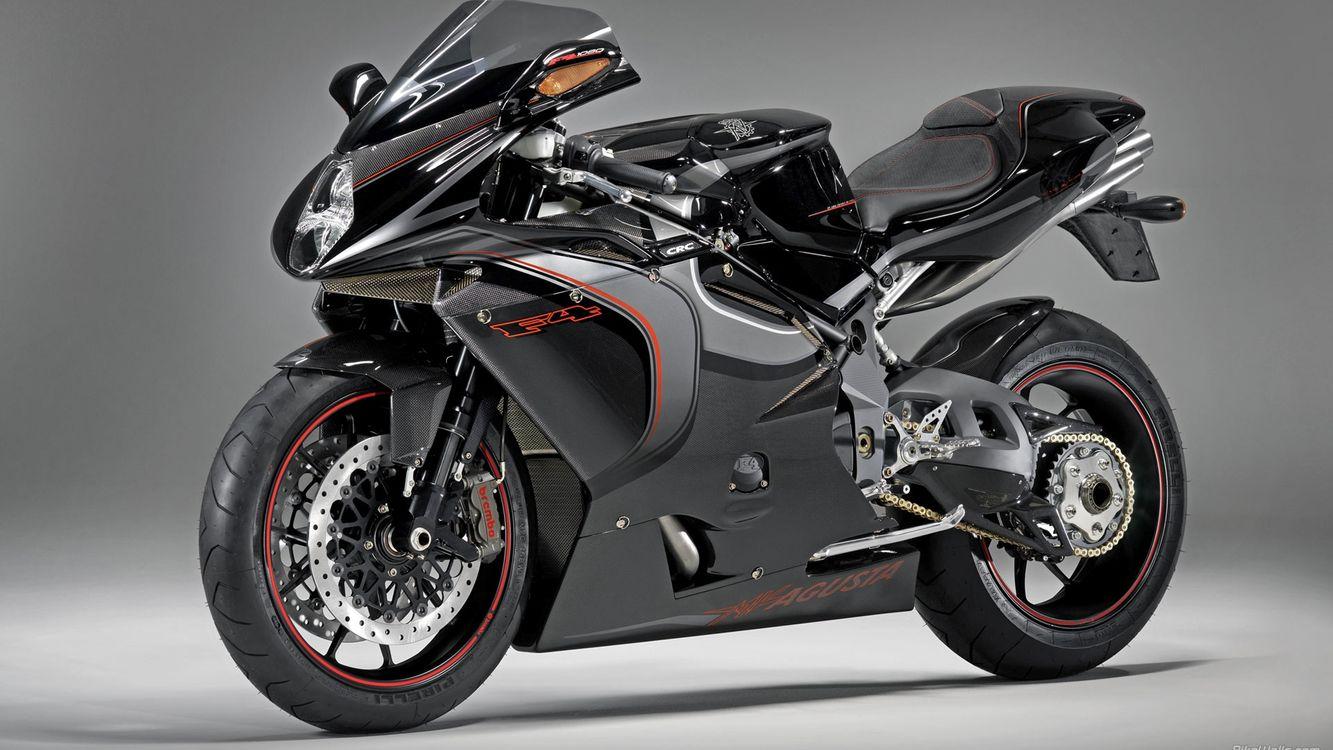 Фото бесплатно спортбайк, черный, полосы, надписи, красные, колеса, цепь, мотоциклы, мотоциклы