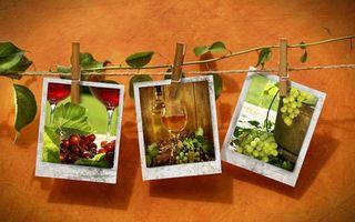 Бесплатные фото веревка,прищепки,фотографии,виноград,вино,бутылка,фужеры