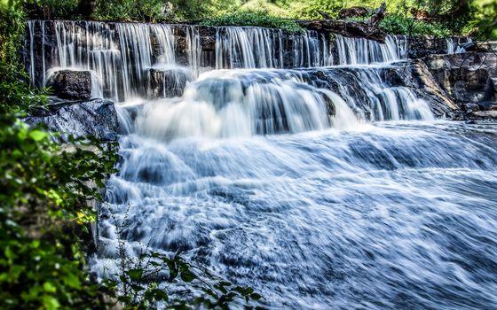 Фото бесплатно водопад, река, вода, брызги, поток, течение, природа