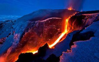 Бесплатные фото вулкан,лава,магма,огонь,жар,температура,снег