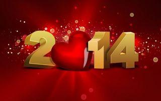 Обои 2014, цыфры, надпись, блики, красный, фон, сердечко, новый год