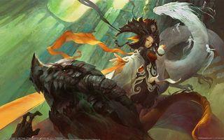 Бесплатные фото девушка,дракон,jian guan