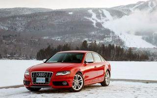 Бесплатные фото audi,красный,блестящий,горы,снег,леса,зима