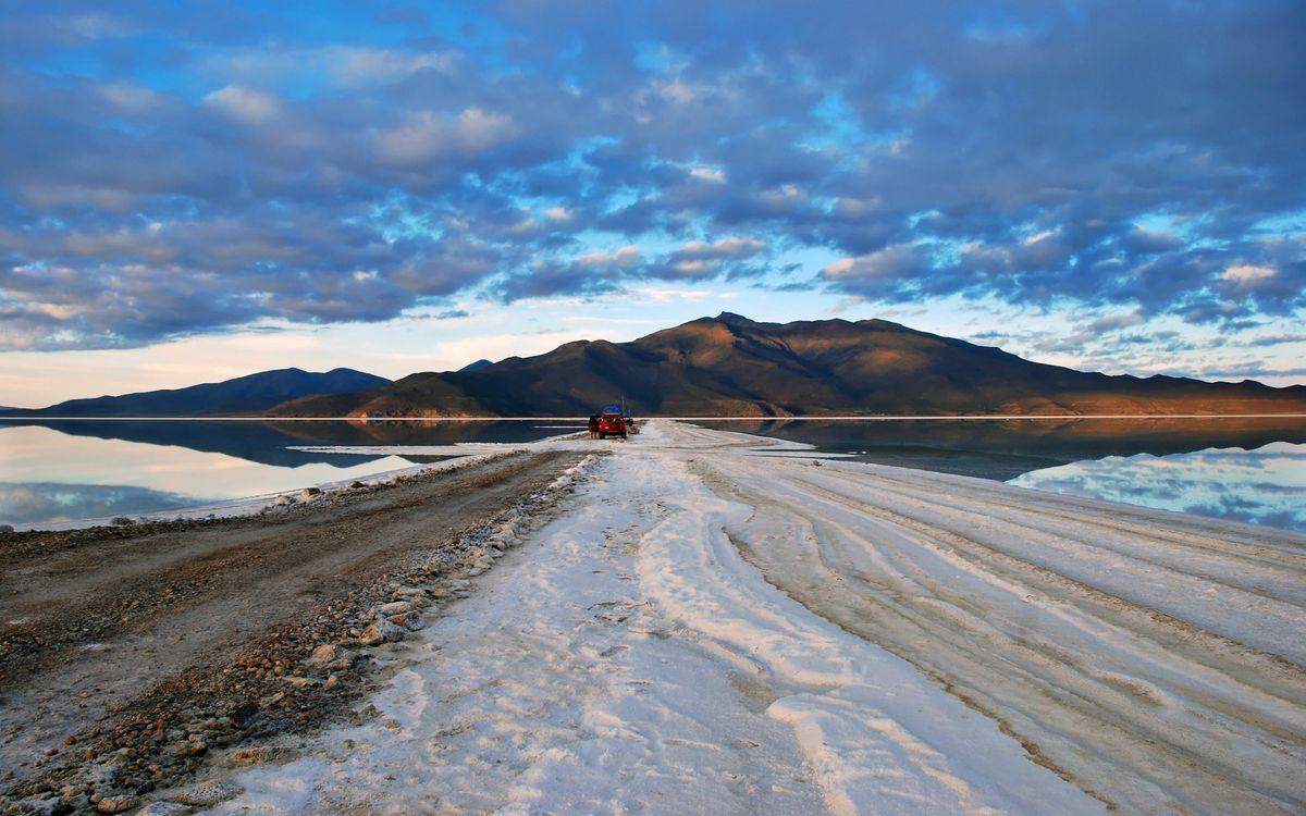 Обои дорога, море, горы, снег, небо, разное на телефон | картинки разное