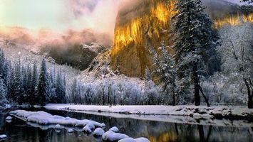 Бесплатные фото горы,облока,снег,река,деревья,природа