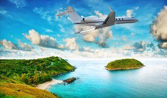 Бесплатные фото летящий над островом,море,тропики,пляж,Самолет,острова,небо
